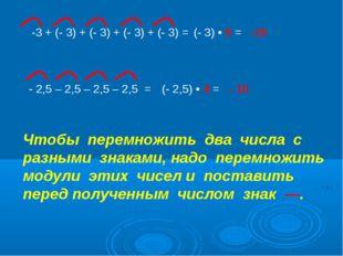 -3 + (- 3) + (- 3) + (- 3) + (- 3) = (- 3) • 5 = -15 - 2,5 – 2,5 – 2,5 – 2,5