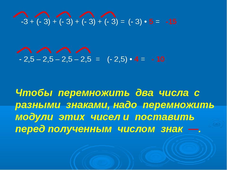 -3 + (- 3) + (- 3) + (- 3) + (- 3) = (- 3) • 5 = -15 - 2,5 – 2,5 – 2,5 – 2,5...