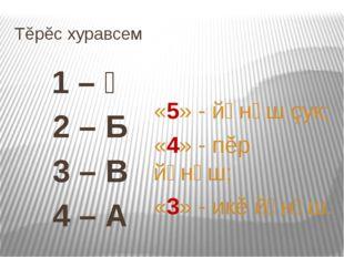 Тĕрĕс хуравсем 1 – Ӑ 2 – Б 3 – В 4 – А «5» - йӑнӑш çук; «4» - пĕр йӑнӑш; «3»