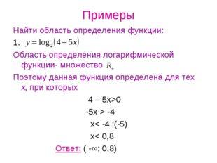 Примеры Найти область определения функции: 1. Область определения логарифмиче