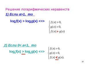 * Решение логарифмических неравенств 1) Если а>1, то logaf(x) > logag(x)  2)