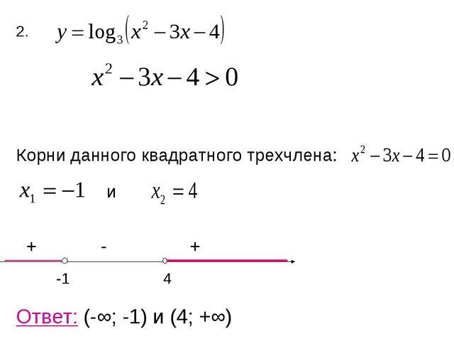 2. Корни данного квадратного трехчлена: и + - + -1 4 Ответ: (-∞; -1) и (4; +∞)