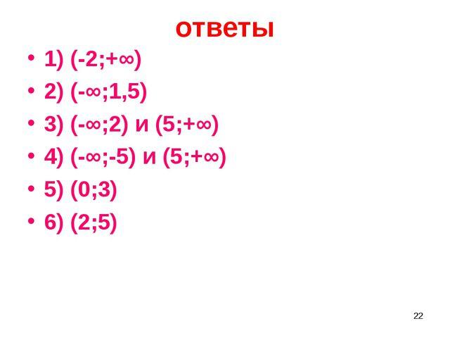 ответы 1) (-2;+∞) 2) (-∞;1,5) 3) (-∞;2) и (5;+∞) 4) (-∞;-5) и (5;+∞) 5) (0;3)...