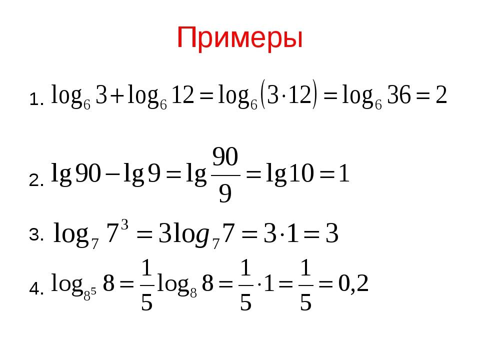 Примеры 1. 2. 3. 4.