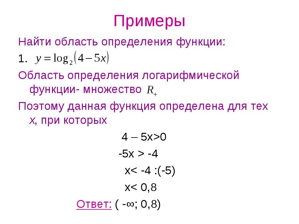 Примеры Найти область определения функции: 1. Область определения логарифмиче...