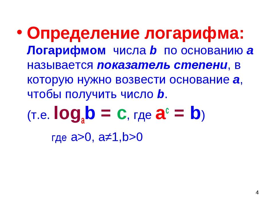 * Определение логарифма: Логарифмом числа b по основанию а называется показат...