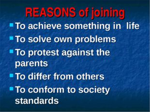 REASONS of joining To achieve something in life To solve own problems To prot