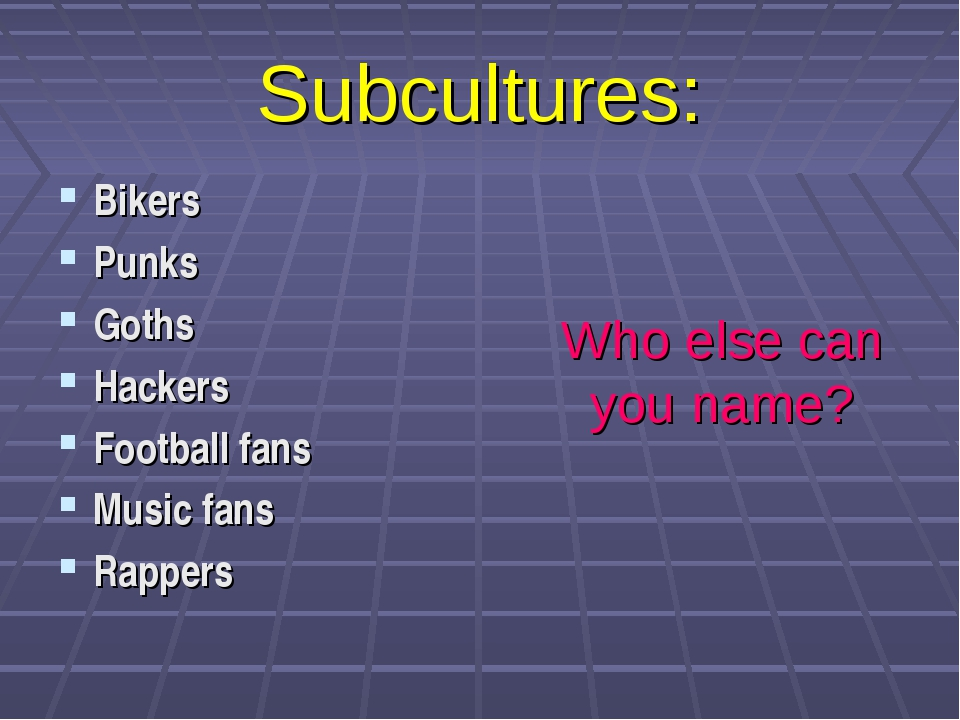 Subcultures: Bikers Punks Goths Hackers Football fans Music fans Rappers Who...