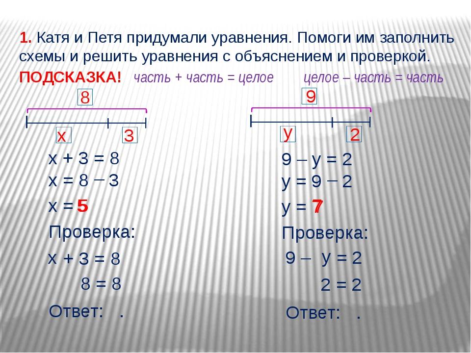 9 – = 2 х + 3 = 8 х = 8 3 – х = 5 Проверка: + 3 = 8 5 х 8 = 8 Ответ: . 1. Кат...