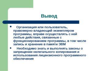 Вывод Организация или пользователь, правомерно владеющий экземпляром программ