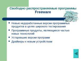 Свободно распространяемые программы Freeware Новые недоработанные версии прог