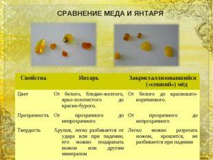 СРАВНЕНИЕ МЕДА И ЯНТАРЯ СвойстваЯнтарьЗакристаллизовавшийся («севший») мёд