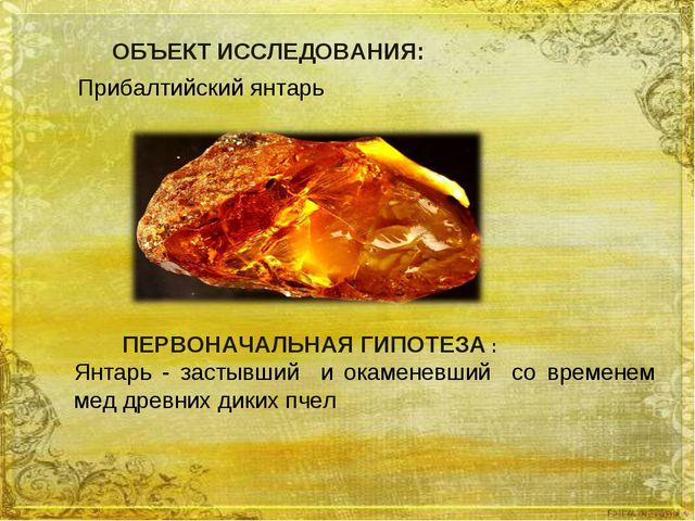 ПЕРВОНАЧАЛЬНАЯ ГИПОТЕЗА : Янтарь - застывший и окаменевший со временем мед д...