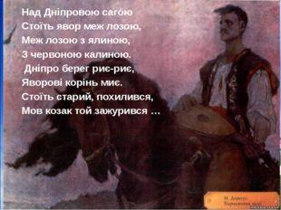 Над Дніпровою сагóю Стоїть явор меж лозою, Меж лозою з ялиною, З червоною кал