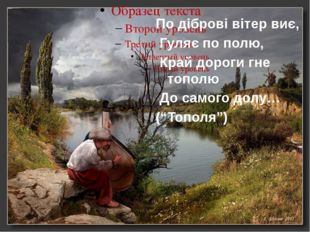 По діброві вітер виє, Гуляє по полю, Край дороги гне тополю До самого долу… (