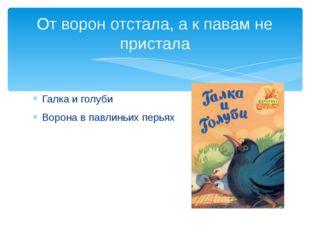 Галка и голуби Ворона в павлиньих перьях От ворон отстала, а к павам не прист