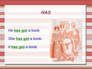 HAS He has got a book. She has got a book. It has got a book.