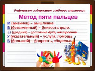 Рефлексия содержания учебного материал. Метод пяти пальцев * М(мизинец) – мы