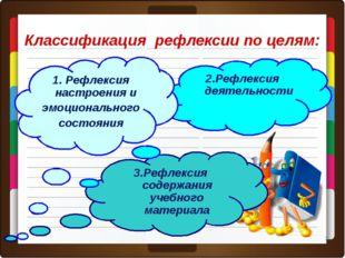 * Классификация рефлексии по целям: 3.Рефлексия содержания учебного материала