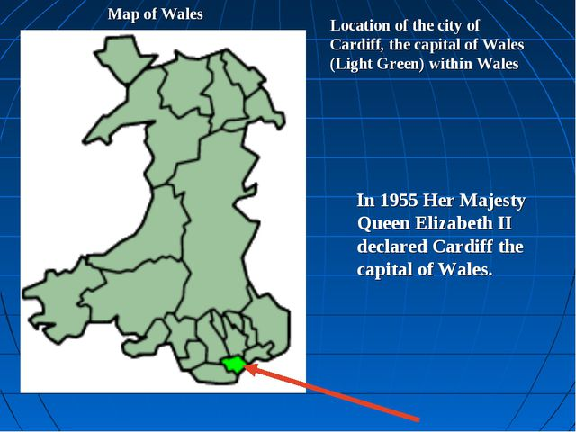 Location of the city of Cardiff, the capital of Wales (Light Green) within Wa...