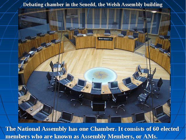Debating chamber in the Senedd, the Welsh Assembly building The National Asse...