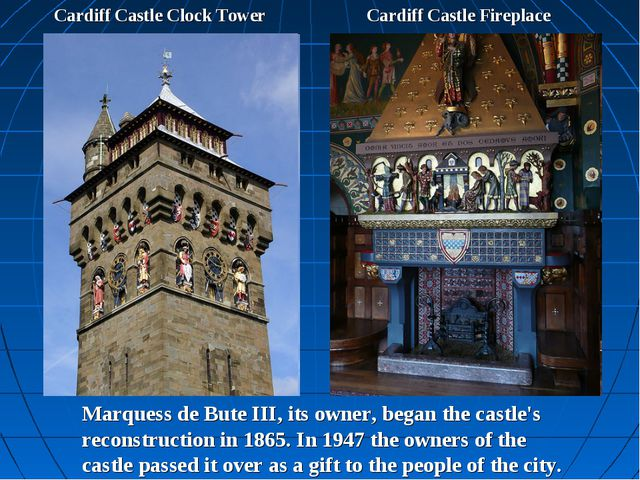 Cardiff Castle Clock Tower Cardiff Castle Fireplace Marquess de Bute III, its...