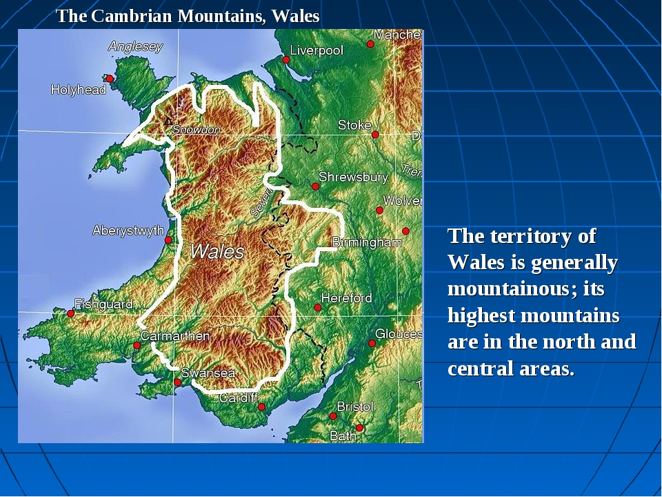 The Cambrian Mountains, Wales The territory of Wales is generally mountainous...