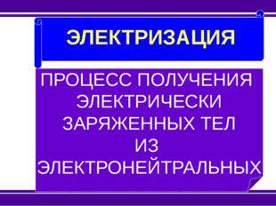ЭЛЕКТРИЗАЦИЯ ПРОЦЕСС ПОЛУЧЕНИЯ ЭЛЕКТРИЧЕСКИ ЗАРЯЖЕННЫХ ТЕЛ ИЗ ЭЛЕКТРОНЕЙТРАЛ