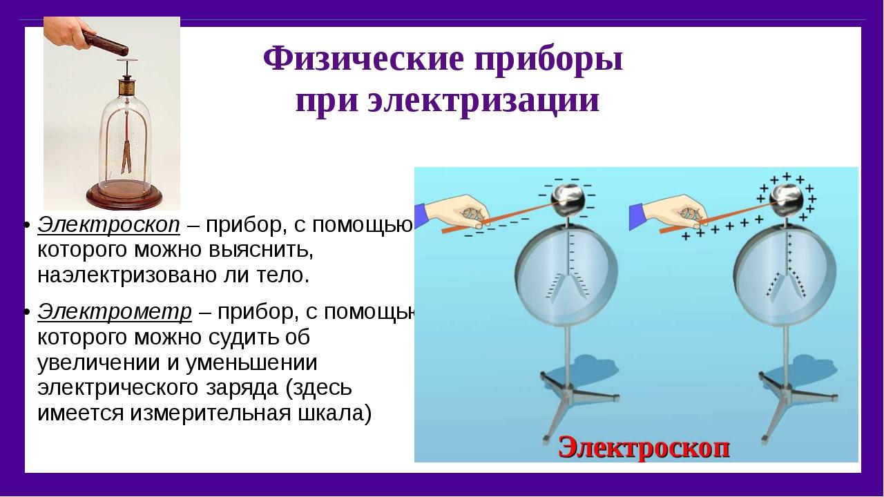 Физические приборы при электризации Электроскоп – прибор, с помощью которого...