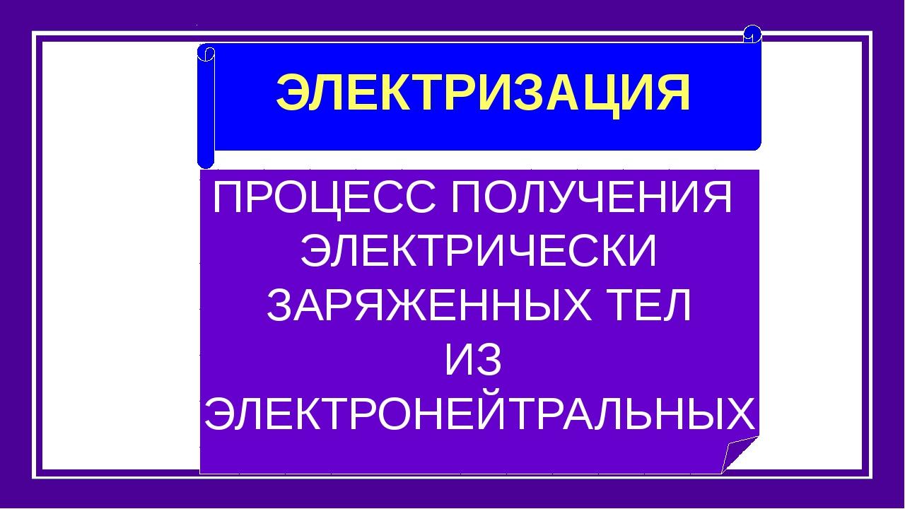ЭЛЕКТРИЗАЦИЯ ПРОЦЕСС ПОЛУЧЕНИЯ ЭЛЕКТРИЧЕСКИ ЗАРЯЖЕННЫХ ТЕЛ ИЗ ЭЛЕКТРОНЕЙТРАЛ...