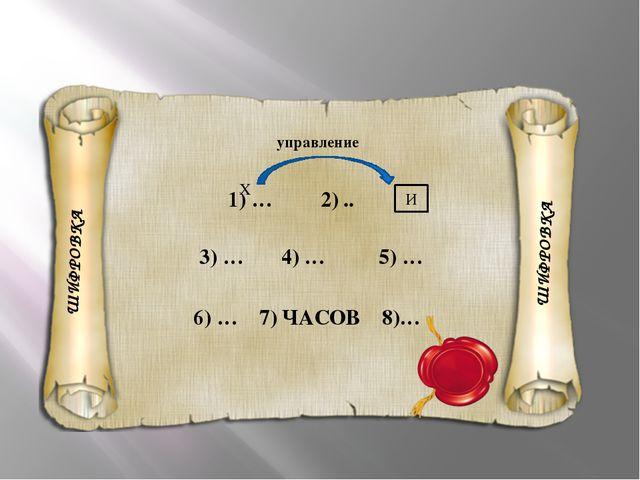 ШИФРОВКА 1) … 2) .. И 3) … 4) … 5) … 6) … 7) ЧАСОВ 8)… X управление ШИФРОВКА