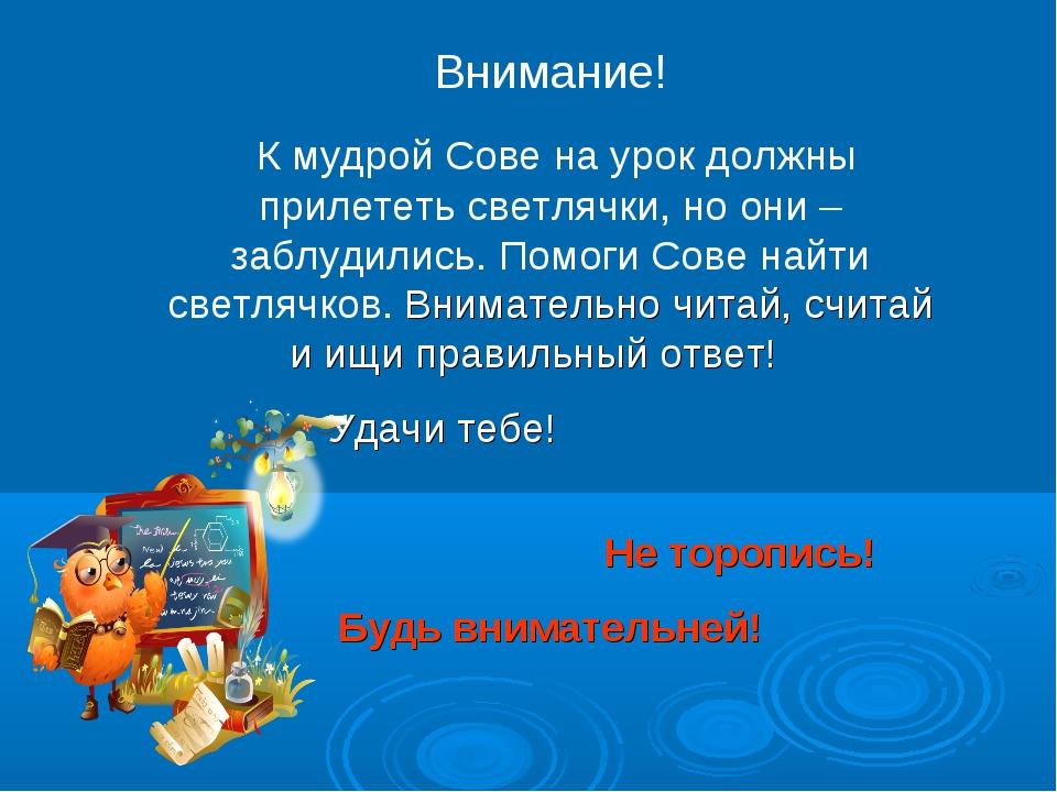 Внимание! К мудрой Сове на урок должны прилететь светлячки, но они – заблудил...