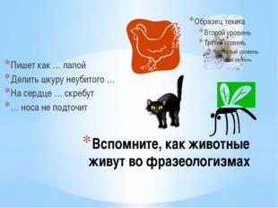 Вспомните, как животные живут во фразеологизмах Пишет как … лапой Делить шкур