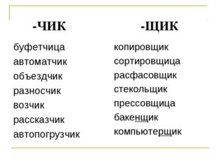 -ЧИК -ЩИК буфетчица автоматчик объездчик разносчик возчик рассказчик автопог