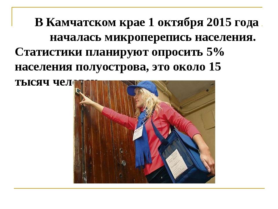В Камчатском крае 1 октября 2015 года началась микроперепись населения. Стати...