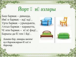 Йорт җиһазлары Баш бармак – диванда, Имән бармак – идәндә, Урта бармак – урын