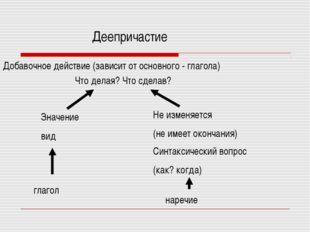 Деепричастие Добавочное действие (зависит от основного - глагола) Что делая?