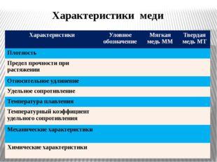 Характеристики меди Характеристики Уловное обозначение Мягкая медь ММ Твердая