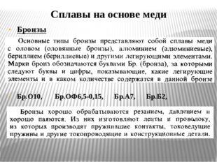 Сплавы на основе меди Бронзы Бр.О10, Бр.ОФ6,5-0,15, Бр.А7, Бр.Б2, Бр.ОЦС6-6-3
