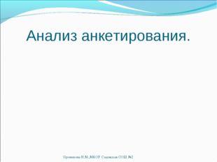 Анализ анкетирования. Проникова И.М.,МКОУ Садовская СОШ №2 Проникова И.М.,МКО