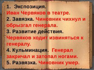 Экспозиция. Иван Червяков в театре. 2. Завязка. Чиновник чихнул и обрызгал г