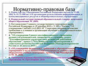 Нормативно-правовая база 1. Министерство Образования Российской Федерации пис
