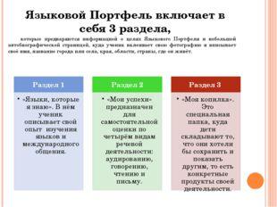 Языковой Портфель включает в себя 3 раздела, которые предваряются информацией