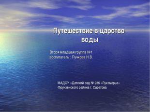Путешествие в царство воды МАДОУ «Детский сад № 236 «Лукоморье» Фрунзенского