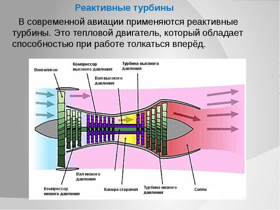 Реактивные турбины В современной авиации применяются реактивные турбины. Это...