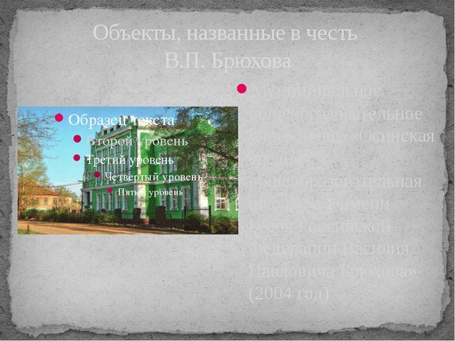 Объекты, названные в честь В.П. Брюхова Муниципальное общеобразовательное учр...