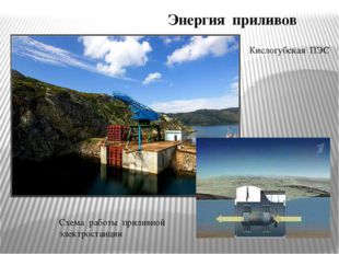 Энергия приливов Кислогубская ПЭС Схема работы приливной электростанции