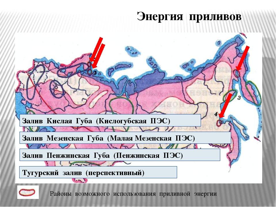 Энергия приливов Залив Кислая Губа (Кислогубская ПЭС) Залив Мезенская Губа (М...