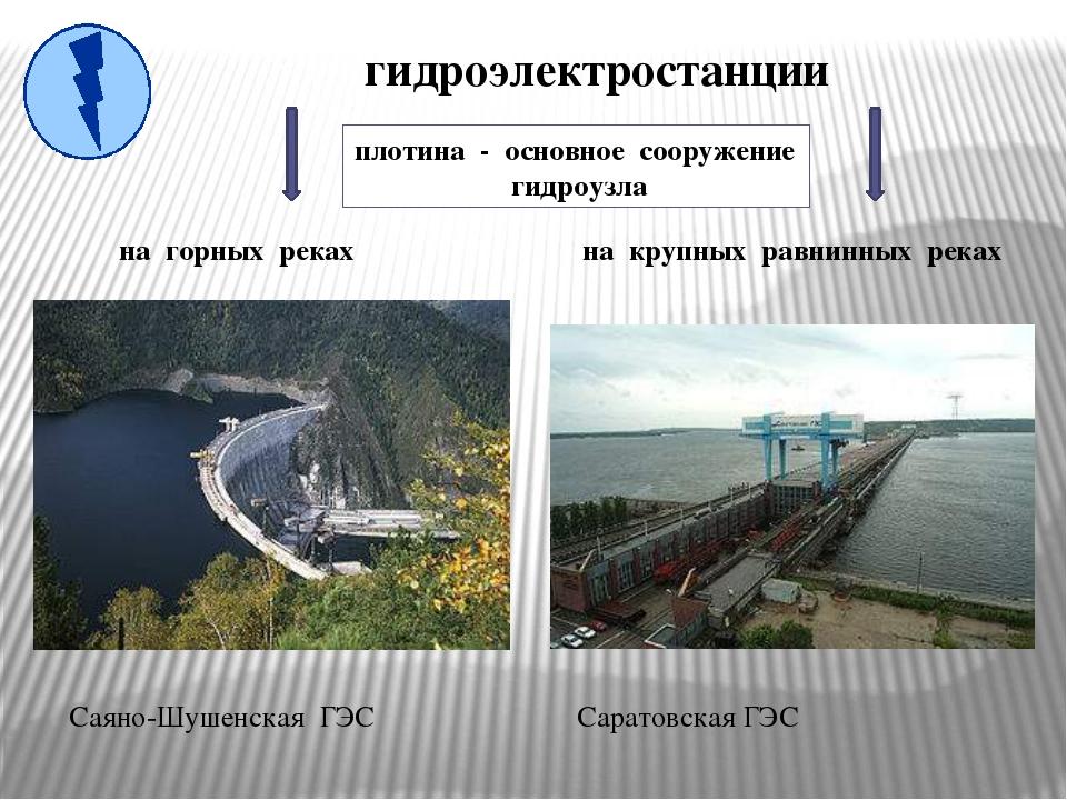 гидроэлектростанции на горных реках Саяно-Шушенская ГЭС на крупных равнинных...