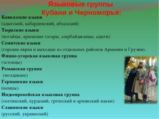 Языковые группы Кубани и Черноморья: Кавказские языки (адыгский, кабардинский